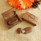 Custom Engraving Oval Walnut Wood USB Flash Drive & Box Wedding USB 4GB 8GB 16GB
