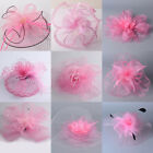 Lady Handmade Pink Fascinator Feather Clips Hair Accessory Bridal Headpieces