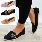 New Womens Flat Pumps Comfy Slip On Flower Ballerinas Plimsolls Casual Shoes