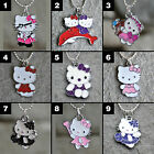 """Hello Kitty Enamel Silver Plated Necklace on 17"""" Chain Handmade USA Choices 1-9"""
