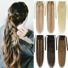 "15""-28"" human hair ponytail extension clip in 100% Long Pony Tail Drawstring"