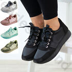 New Womens Gym Running Comfy Trainers Lace Up Flat Ladies Shoes Sizes 3-8