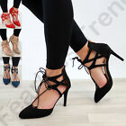 New Womens Ankle Lace Up High Heel Sandals Pointed Toe Stiletto Party Shoes Size