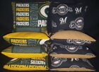 Green Bay Packers Milwaukee Brewers Set of 8 Cornhole Bean Bags FREE SHIPPING