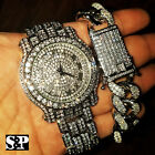 MENS HIP HOP WHITE GOLD PT LUXURY WATCH & FULL ICED CUBAN BRACELET COMBO SET  image