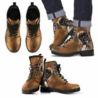 Boxer Dog Leather Boots Brown Custom Printed