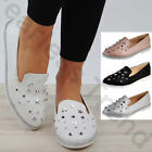 New Womens Studs Slip On Ballerinas Comfy Plimsolls Casual Flat Pumps Shoes Size