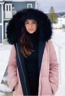 Zara Reversible Long Quilted Duck Down Feather Anorak Puffer Coat Pink Black M
