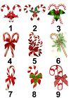 Candy Cane Christmas Small or Large Sticky White Paper Stickers Labels NEW