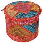 Round Indian Ottoman Pouf Cover Embroidered Bohemian Pouffe Footstool Floor Seat