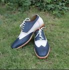 Handmade men two tone shoes, men white and navy spectator shoe, wingtip shoes