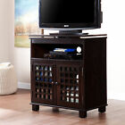 MTS84007 DARK EXPRESSO SWIVEL TOP T.V STAND WITH 2 DOORS