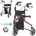 Lightweight Folding 3 Wheel Tri Walker With Seat Walking Aid Frame Rollator