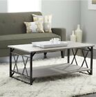 Coffe Table With Shelf Black Gray Metal Wood Contemporary Steel Living Room