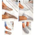Womens Ladies Slip On Trainers Flat Plimsolls Skater Glitter Pumps Shoes Size