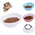 Cat Shallow Food Bowls Cute Shape Wide Mouth White Blue Pink Dish ThinkPet