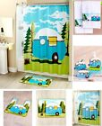 💗 Retro Camping Shower Curtain Rug Towels Mat Dispenser Toothbrush Holders Sets