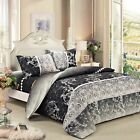 black floral bedding set: 1 duvet cover & 2 pillow shams  full/queen/king/cal k