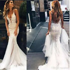 Sexy Mermaid Deep V Neck Backless Country Beach Wedding Dresses Bridal Gown 2018