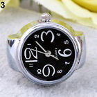 Lady Girl Creative Stainless Steel Round Quartz Finger Ring Watch Natural