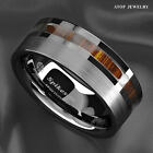 8mm Silver Brushed Tungsten Carbide Ring Off Center Koa Wood ATOP Wedding Band