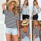 New Womens Summer Short Sleeve Loose Black White T Shirt Casual Tops Blouse