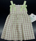 Toddler Girls Bonnie Jean Green & Light Purple Checked Dress Size 2T - 4T