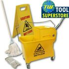 Professional Industrial Yellow Kentucky Mop Buckets with Wringers & Mop Heads