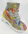 Men's White | Multicolor Diagonal Fashion Rhinestones Boots
