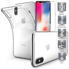 For iPhone 6 7 8 X 360 Full Protection Clear Gel Case Cover Tempered Glass Cover