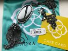 NWT KENDRA SCOTT Hematite Rhodium Silver RAYNE Necklace Dangle Pendant w Dustbag