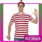 Mens Where's Wally Waldo Wheres Costume Kit Top Hat Glasses Book Week T-Shirt