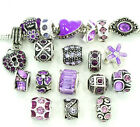 Authentic Pandora Charms 10 Assorted Crystal Rhinestone Bead Charm Spacers Purpl