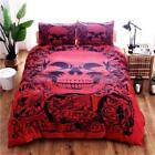 Gothic Punk Metal Red Skull Duvet Bedding Set