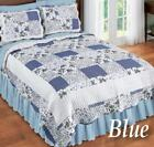 💗 ALL SIZES Hadley Blue Floral Patchwork Quilt & Shams Bedroom Bedding  image