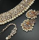 GOLDPLATED KUNDAN WITH PEARL SET CONTAIN NECKLACE + EARINGS + TIKKA+ FREE SHIP