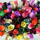 WOODEN ROSES - Closed Bud - Colours - 1/2 Dozen - Mothers Day Birthday Gift