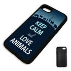 KEEP CALM AND LOVE ANIMALS PROTECTIVE PHONE CASE COVER fits Iphone BLACK