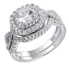 Newshe Wedding Band Engagement Ring Set 925 Sterling Silver Round Princess CZ <br/> ❤US Stock,Fast Free❤Non-Tarnishing,Never Green❤Size5-10