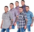 Mens Regular Big Size Shirts Checked Cotton Blend Casual Short Sleeve M to 5XL