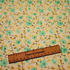 yellow floral flower songbird 100% cotton fabric 44 inch/ 110cm spring green