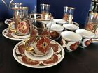 Turkish Tea Coffee Mirra Zamzam Set Ceramic Cups Microscope spectacles Mugs Saucer Gold Palace A
