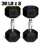 Rubber Hex Dumbbell PAIRS Free Weights Home Gym Cast Iron Strength Training New