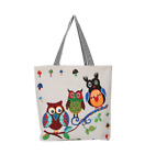 Women Shoulder Bag Owl Printed Canvas Handbag Lady Casual Tote Purse Travel