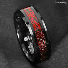 8mm Black Tungsten Ring Red Celtic Dragon Black carbon fiber Ring ATOP Jewelry