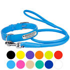Leather Dog Collar Leash Set Personalized ID Tag Puppy Small Large Blue Pink Red