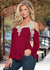 UK Sexy Womens Ladies V Neck Off Shoulder Long Sleeve Loose T Shirt Blouse Tops