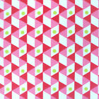 Lipstick Graphic Origami - Pink Red Lime - Cotton Fabric Modern French Geometric