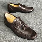 Vintage French Shriners Mens Brown Leather Tassel Loafers size 10.5 M In EUC