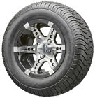 """12"""" RHOX RX250 Machined Golf Cart Wheels and Low Profile Tires Combo Set of 4"""